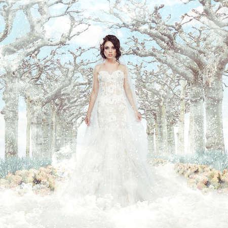 結婚式: ファンタジー結婚花嫁は凍結の冬の木々 と雪の上の白いドレスで