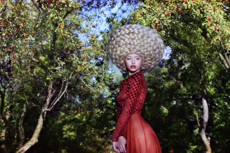 periwig: Fashion Style. Creativity. Eccentric Woman in Art Wig with Braids