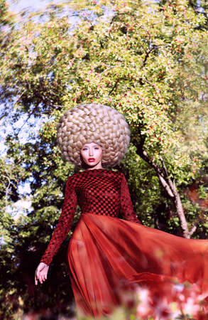 peruke: Creative Peruke. Fashionable Stylish Woman with Glamorous Hairstyle