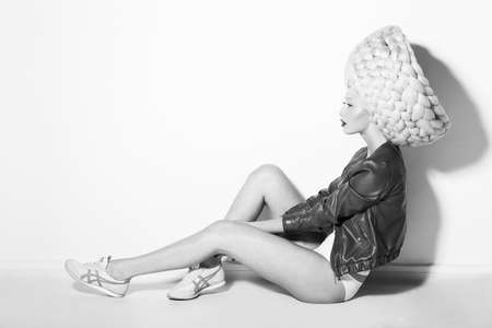 periwig: Styling. Profile of Showy Quaint Woman in Surreal White Peruke
