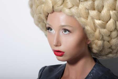 peruke: Fashion Model. Ultramodern Woman with Amazing Art Headdress Stock Photo