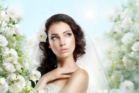 beautiful bride: Sentiment  Perfect Exquisite Woman with Flowers over Vernal Floral Background