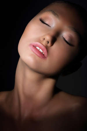 lewd: Aspiration. Longing Woman with Closed Eyes in her Thoughts. Desire & Passion