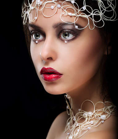 Decoration  Portrait of Gorgeous Woman with Pearls and Beads Stock Photo - 25895488