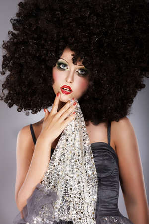 peruke: Futurism  Fanciful Girl in Huge Unusual Black African Frizzy Wig