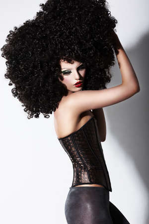 stagy: Fantasy  Art  Futuristic Fashion Model in Curly Black African Wig Stock Photo