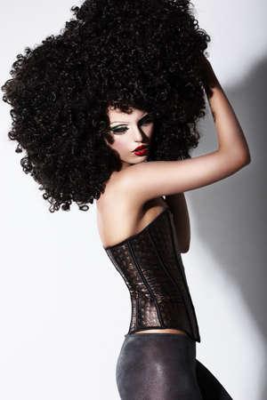 stagy: Fantasy  Art  Futuristic Fashion Model in Curly Black African Wig Stock Photo