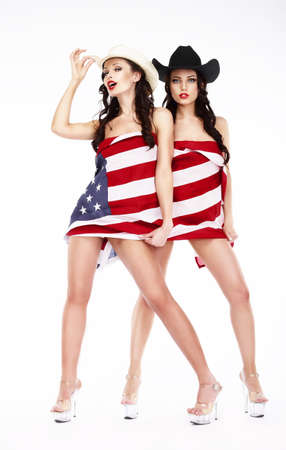 Funny Women in Hats and Heels Covering in USA Flag photo