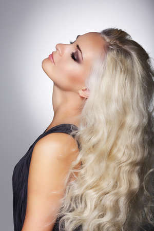 dreaminess: Dreaminess. Gentle Woman Blonde with Closed Eyes in Reverie