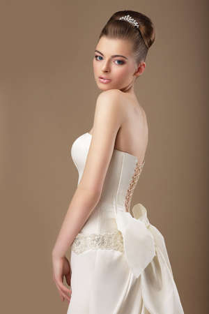 Formal Party  Rich Woman in White Dress with Bow Knot photo