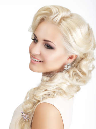 plait: Portrait of Delighted Smiling Blonde with Tress and Jewelry