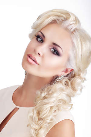 Bright Luxurious Woman Blonde with Glossy Silky Waved Hair photo