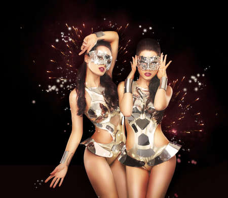 Firework & Fancy Dress Party. Showgirls over Sparkling Background photo