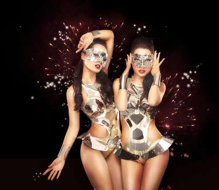 showgirl: Firework & Fancy Dress Party. Showgirls over Sparkling Background