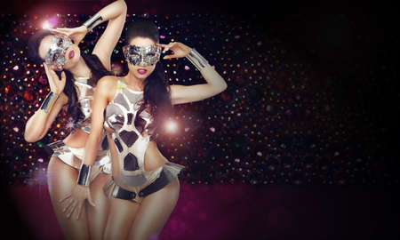 masquerade: Disco Club. Two Women in Trendy Stagy Costumes Dancing over Abstract Background