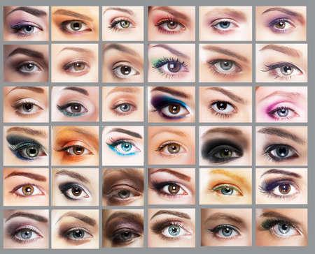 ojo humano: Mascara Gran Variedad de mujeres ojos Foto de archivo