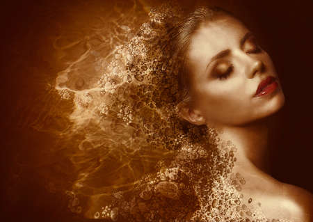 maquillaje de fantasia: Oro Splatter futurista Mujer con Bronzed Pintado Fantasy Skin