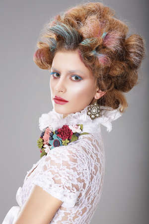 fanciful: Glamorous Woman with Stylized Fanciful Coiffure