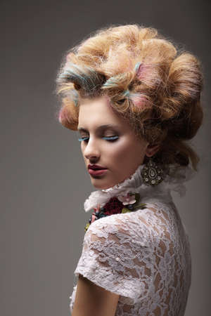 Individuality  Haute Couture  Swanky Woman with Colored Hair photo