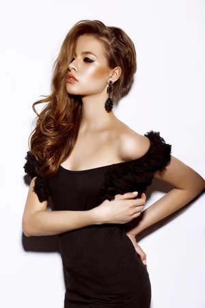 prom: Beautiful Sensual Woman Fashion Model in Black Dress