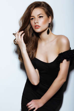 classy woman: Individuality. Thoughtful Elegant Lady in Black Prom Dress