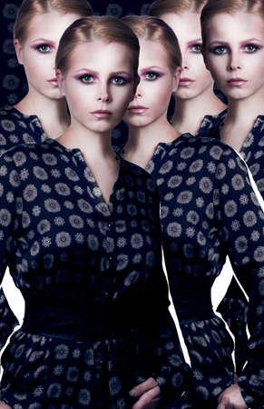 pastiche: Stylization  Collage  Set of Elegant Fashion Model in Modern Dress Stock Photo
