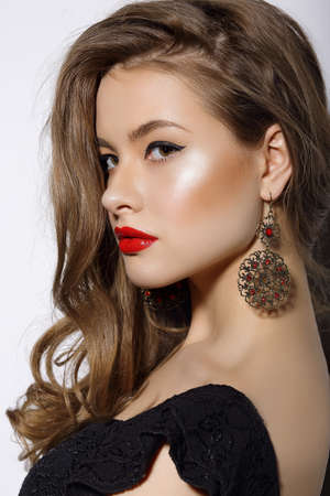 supercilious: Profile of Respectable Classy Brunette with Earrings