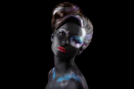 bodypaint: Creativity. Styled Fancy Woman with Art Artistic Makeup. Vogue Style