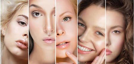 limpieza de cutis: Belleza Collage. Conjunto de rostros de mujeres con diferentes Maquillaje