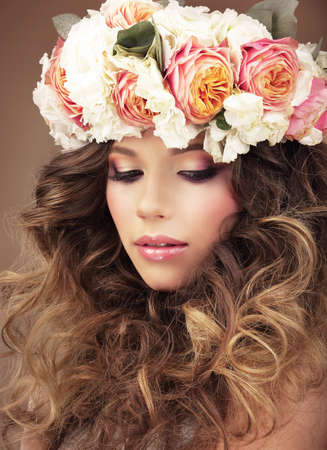 frizzy hair: Affectionate Girl in Wreath of Colorful Flowers Dreaming