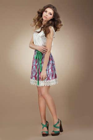 sundress: Sentimentality. Elegant Cute Female in Stylish Dress