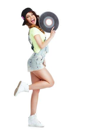 kepi: Profile of Elated Jubilant Woman with Vinyl Record Isolated on White Background Stock Photo