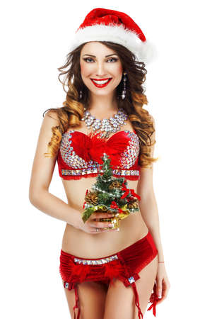 red lingerie: Fantasy. Happy Snow Maiden in Red Lingerie with Gift - Xmas Tree