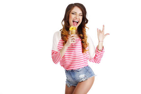 snazzy: Sweetness. Cute Girl with Delicious Ice Cream Smiling
