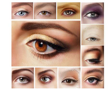 lid: Set of Eyeshadow. Mascara. Mix of Womens Eyes Stock Photo