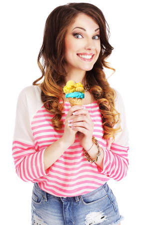 woman with ice cream: Friendly Woman Holding Ice Cream and Smiling