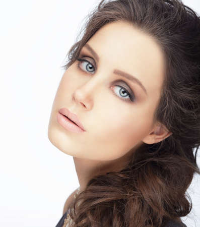 shampoo hair: Complexion. Natural Brunette with Clean Skin