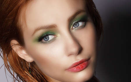auburn: Visage. Close Up Portrait of Young Pretty Woman Stock Photo