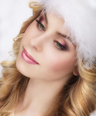 dolly: Pretty Dreamy Young Womans Face Stock Photo