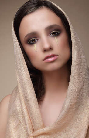 stagy: Woman in Shawl with Dramatic Stagy Makeup