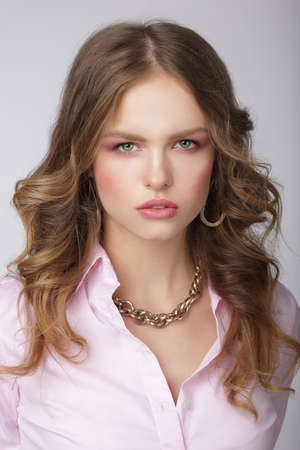 chainlet: Stylish Woman in Light Blouse with Massive Chainlet