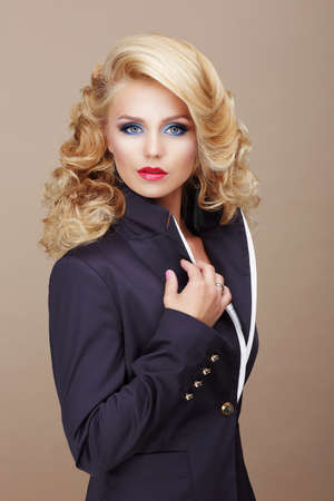 charisma: Charisma. Businesslike Woman Blonde in Blue Suit