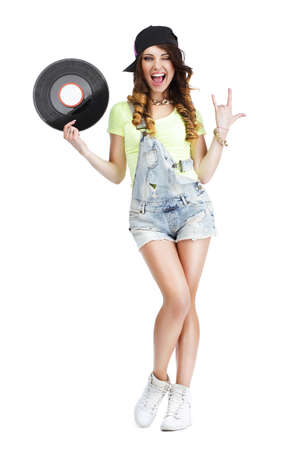kepi: Excited Woman with Vinyl Record Showing Victory Sign