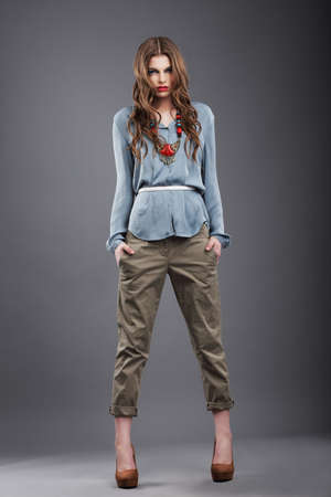 individuality: Individuality. Trendy Fashion Model in Pants