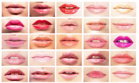 beso labios: Bocas multicolores. Conjunto de los labios de la mujer. Brillante maquillaje y cosméticos Foto de archivo
