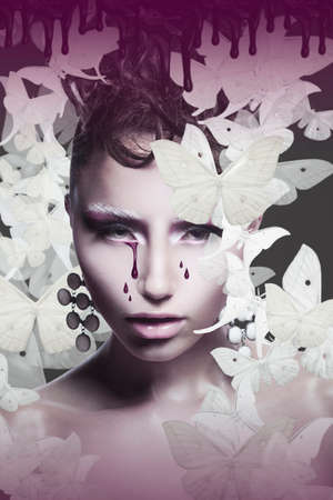 fine art portrait: Womans Face with Teardrops over Abstract Background