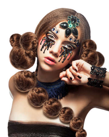 Fantasy. Fancy Woman with Creative Makeup and Tears photo