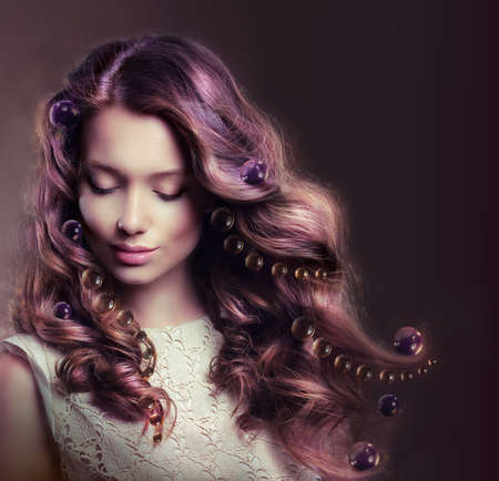 flowing hair: Beauty Portrait of Young Woman with Flowing Hairs Stock Photo