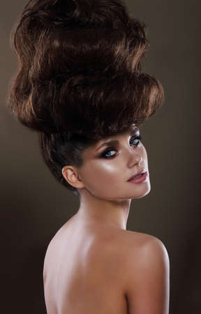 Portrait of Glamorous Lady with Updo Stock Photo