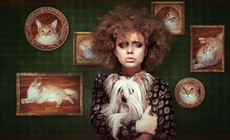 Eccentric Shaggy Woman with Pet - Little Puppy